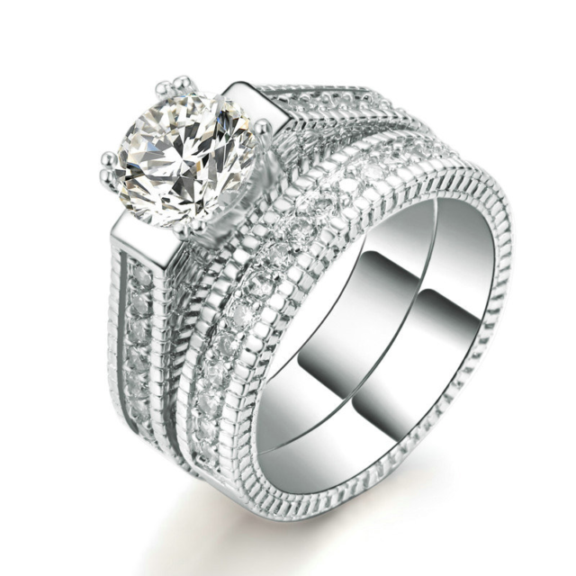 Luxury Women's Cubic Zirconia Wedding Rings Set