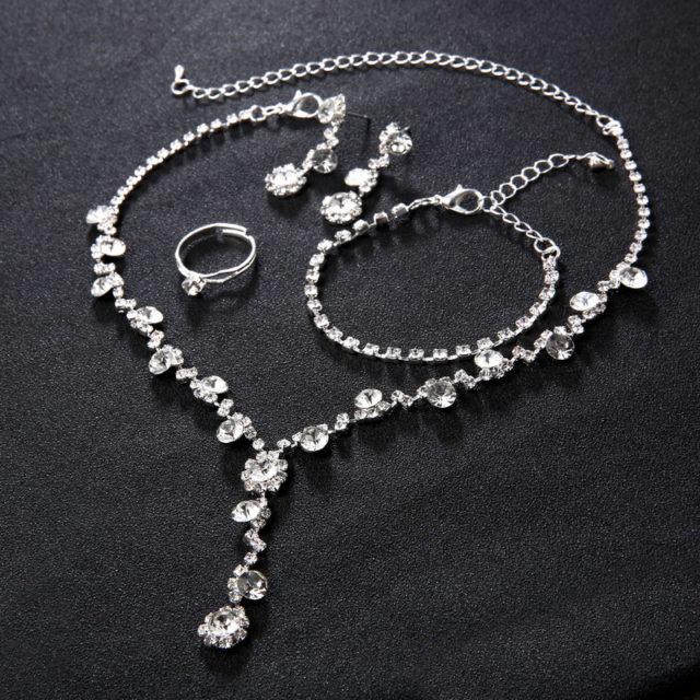 Silver Crystal Wedding Jewelry Set