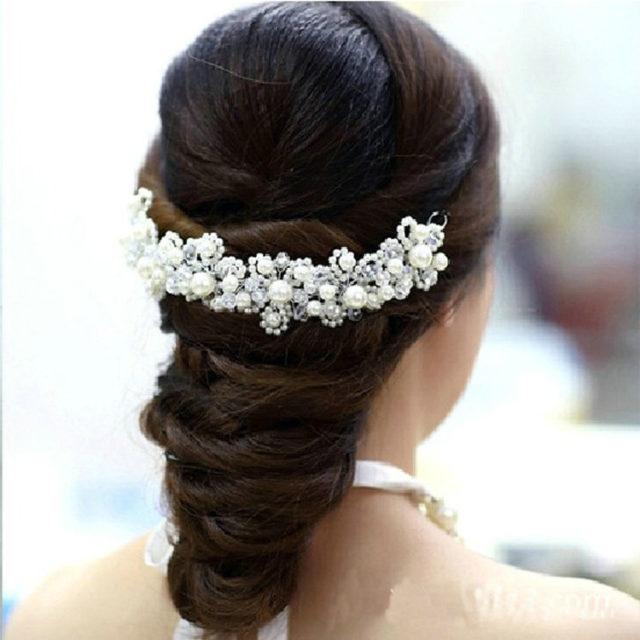 White Pearl Wedding Hair Jewelry