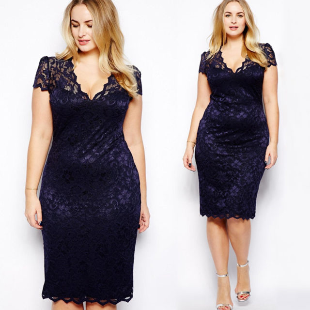 Women's Plus Size Lace V-Neck Midi Dress