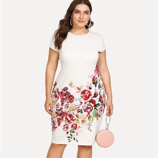 Women's Plus Size Floral Printed Dress