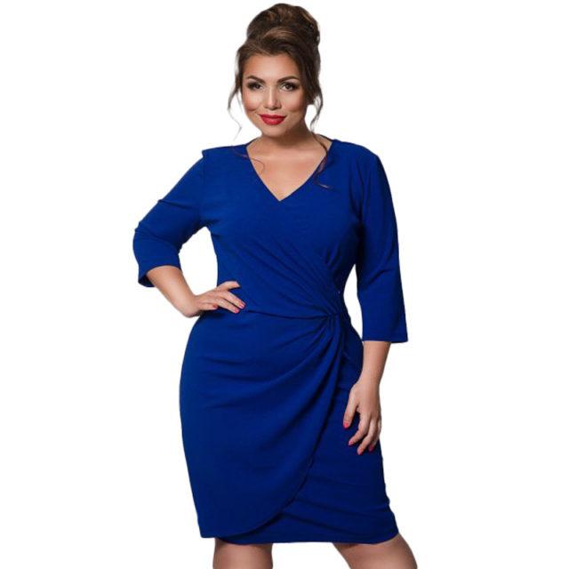 Women's Plus Size V-Neck Mid Dress
