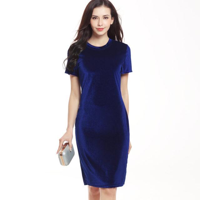 Women's Velvet Short Sleeved Pencil Dress