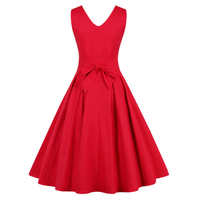 Women's Draped V-Neck Flare Sleeveless Dress