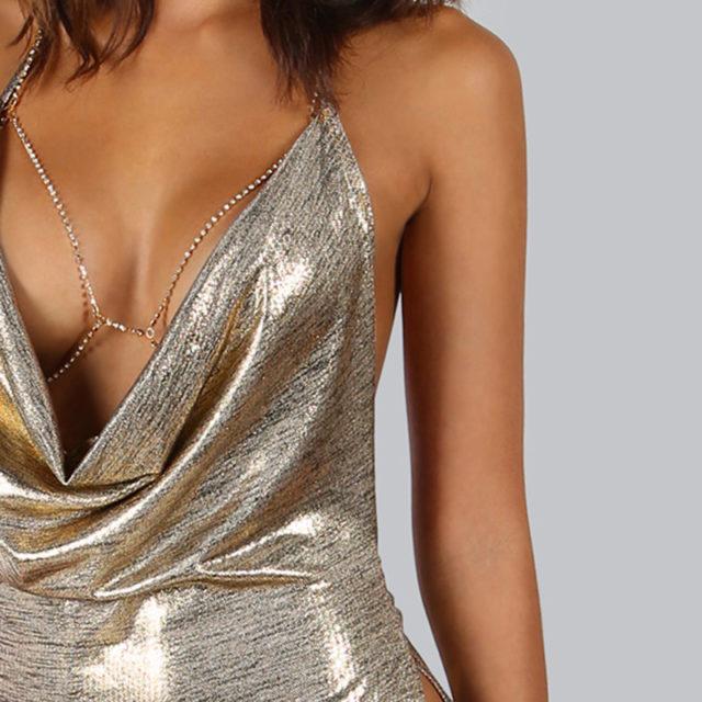 Women's Silver Metallic Party Dress