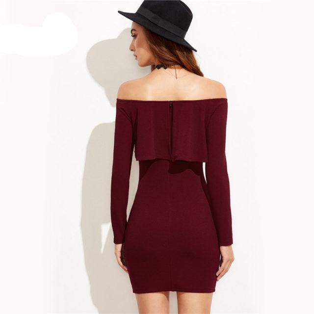 Women's Off Shoulder Ruffle Bodycon Dress