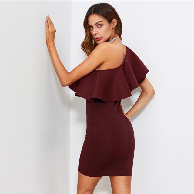 Women's One Shoulder Ruffled Mini Dress