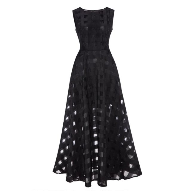 Women's Vintage Plaid Mesh Dress