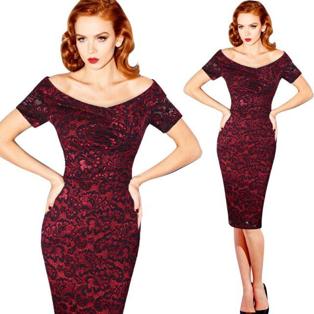 Elegant Vintage Off-Shoulder Women's Dress