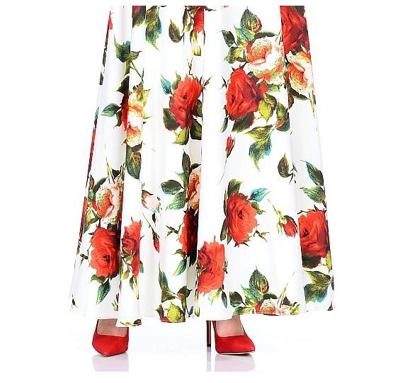 Women's Autumn Rose Printing Long Dress