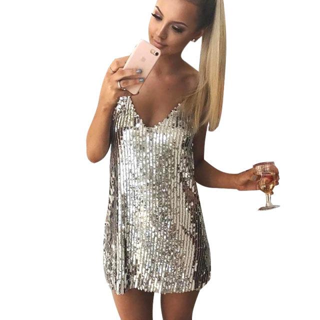 Women's Sequined Party Slip Dress