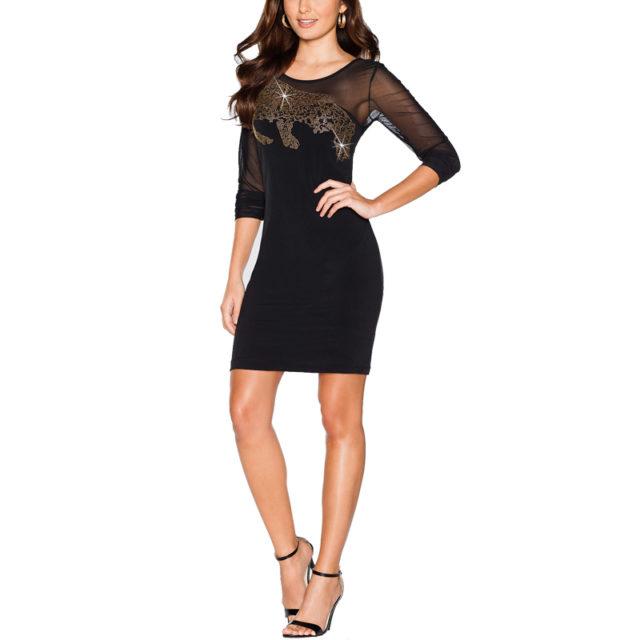 Women's Casual Mini Mesh Dress With Rhinestones