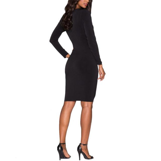 Women's Long Sleeved Mesh Dress With Rhinestones