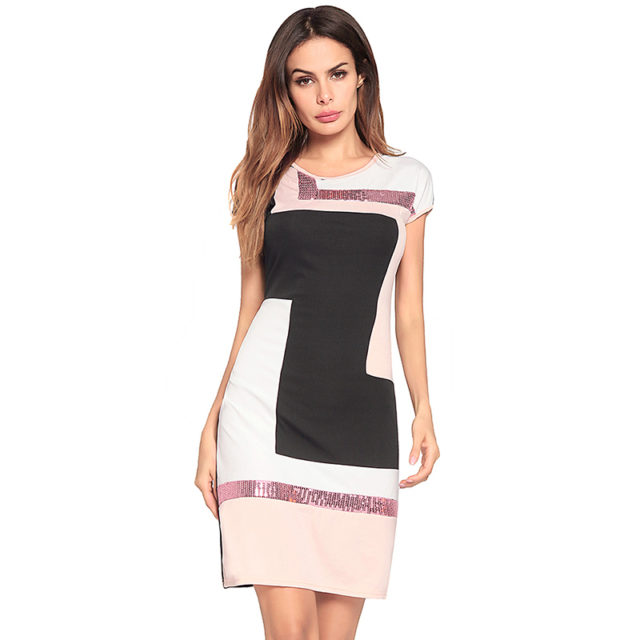 Elegant Geometrically Patterned Sequined Bodycon Dress