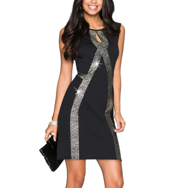 Women's Sleeveless Mesh Glittery Striped Dress