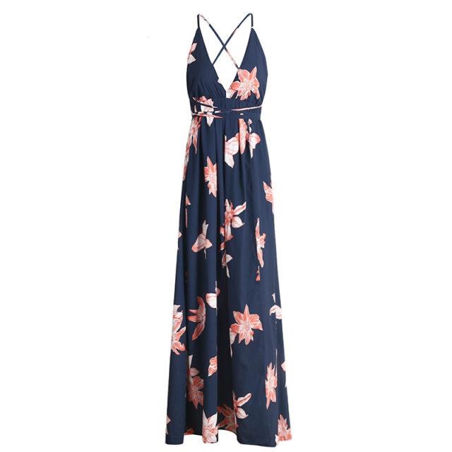Women's Deep V-Neck Backless Long Chiffon Dress