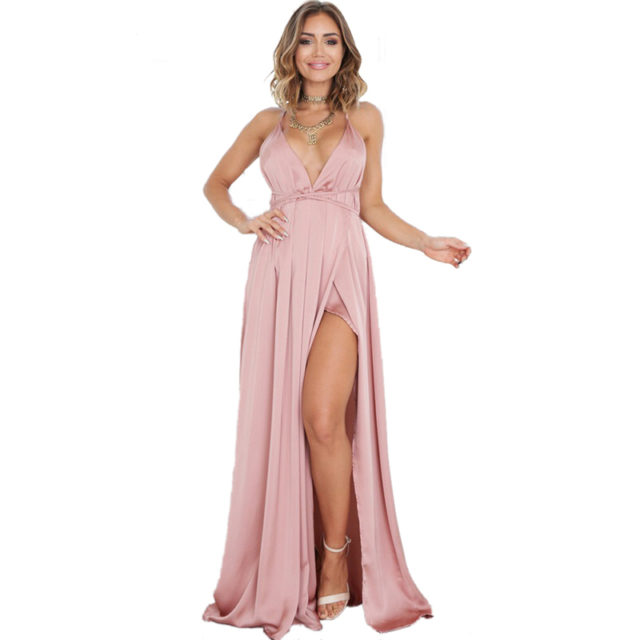 Elegant Backless Satin Dress