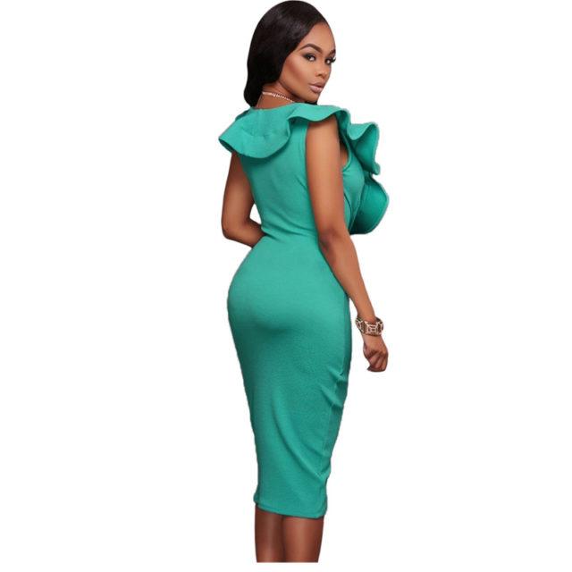 Turquoise Ruffle Bodycon Dress