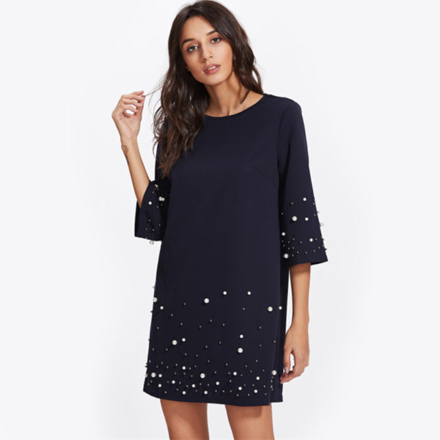Women's Loose Dress with Beads