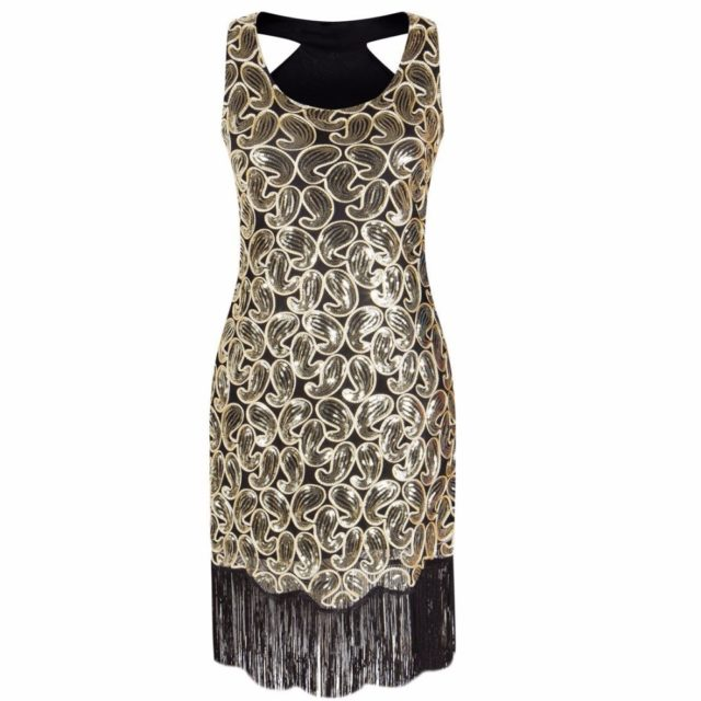 Elegant Sleeveless Sequined Tasseled Women's Dress