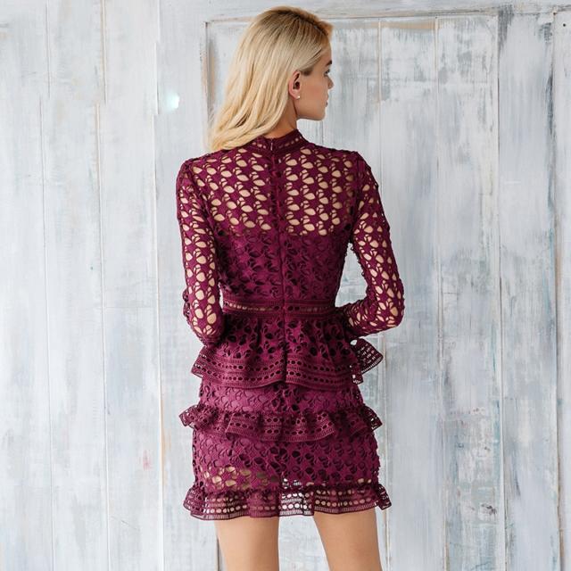 Women's Ruffle Lace Mini Dress