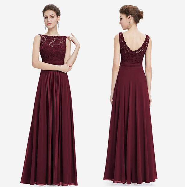 Gorgeous Evening Round Neck Lace Long Dress
