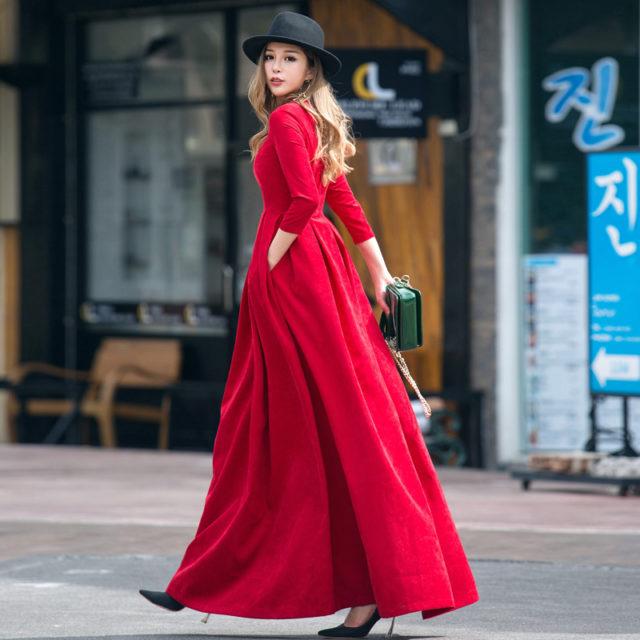 Women's Pleated Long Sleeved Maxi Dress