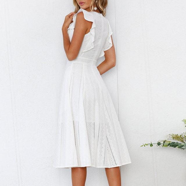 Women's Boho Mid Flare Sleeved Dress
