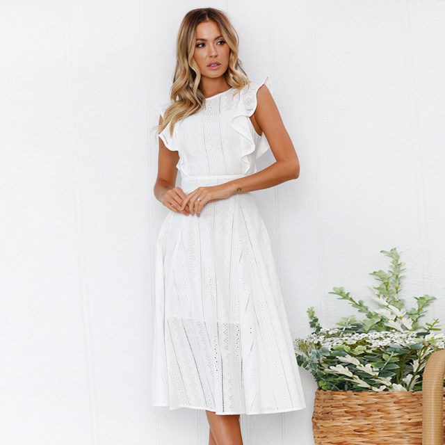 Women's Boho Mid Flare Sleeved Dress