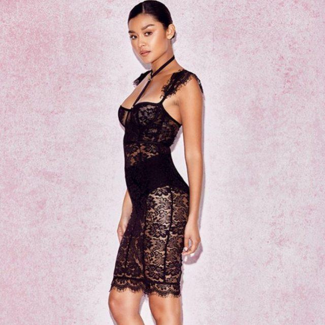 Cute Summer Transparent Black Lace Bodycon Dress