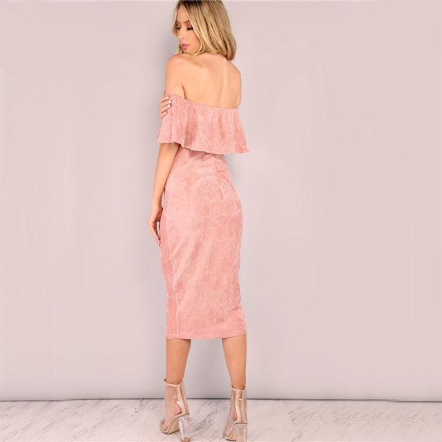 Women's Elegant off Shoulder Ruffled Dress