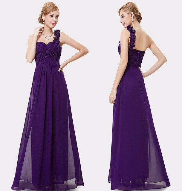 Evening One Shoulder Chiffon Long Dress