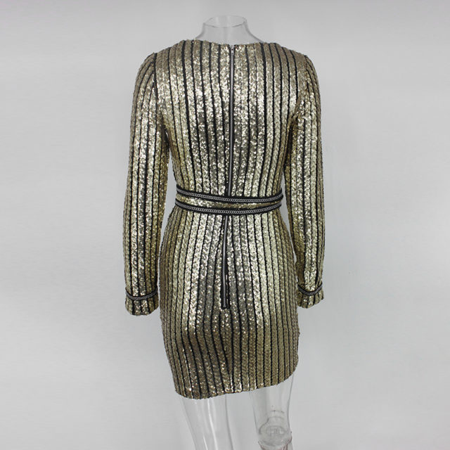 Long Sleeve Striped Sequined Dress