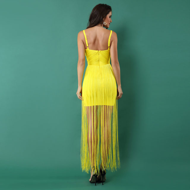 Evening Party Dress with Fringe