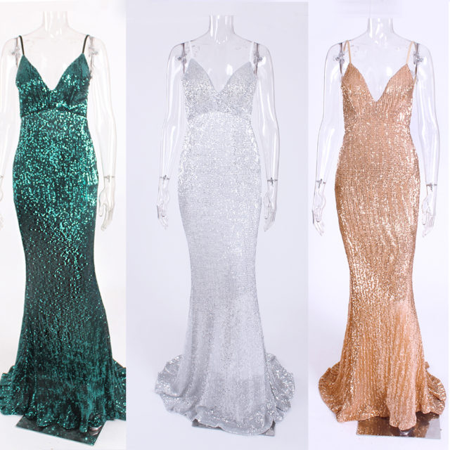 V Neck Sequined Maxi Cocktail Dresses