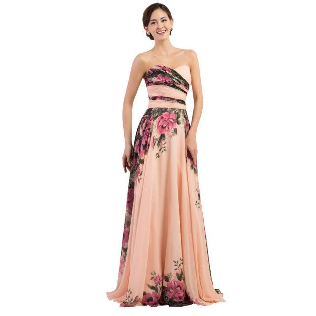 Floral Print Chiffon Evening Long Dress