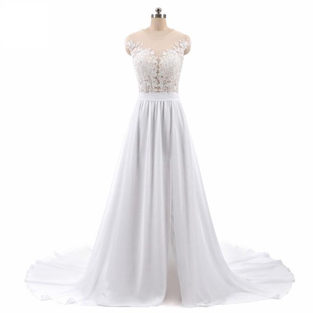 Elegant Long A-Line Chiffon Wedding Dress