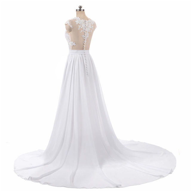 Elegant Long A-Line Chiffon Wedding Dress