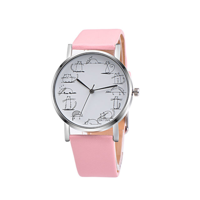 Retro Style Women Watch with Cats on Dial