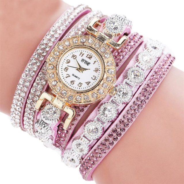 PU Leather Rhinestone Wrist Watch for Woman