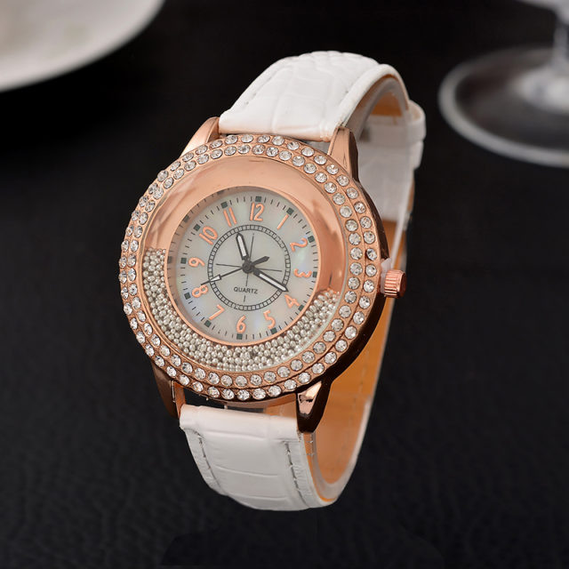 Women's Leather and Crystal Watch
