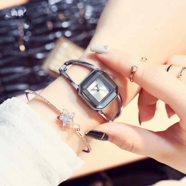 Quartz Wristwatches for Women with Gemstone Styled Dial