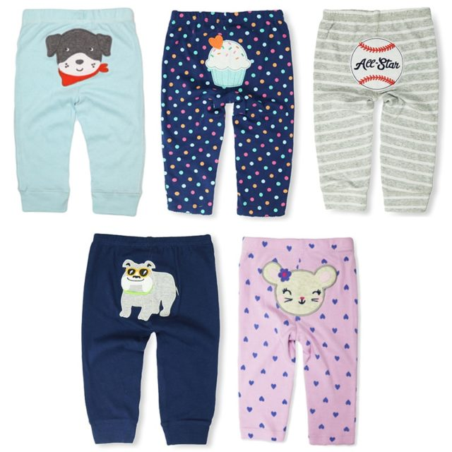 Casual Elastic Waist Cotton Pants for Babies