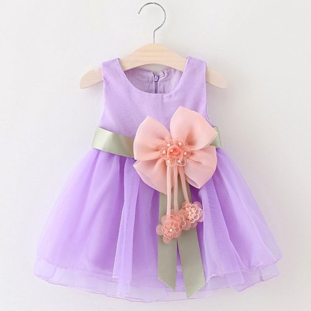 Baby Girl's Party Dresses With Big Bow-Knots