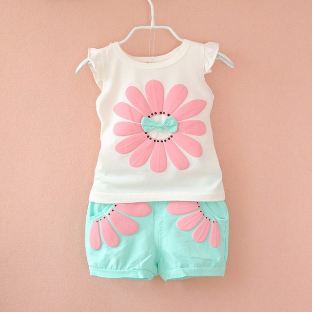 Baby Girl's Summer Floral Printed Cotton Clothing Set