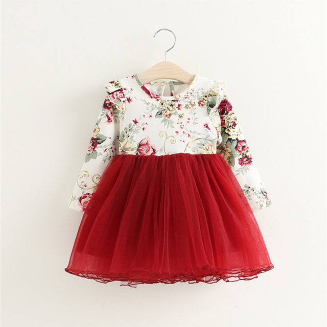 Baby Girl's Floral Printed Princess Dresses