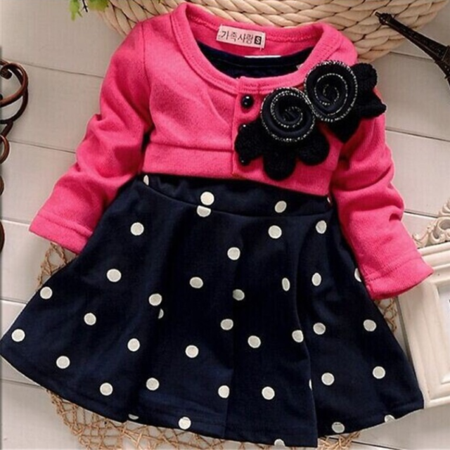 Lovely Warm Polka Dot Cotton Baby Girl's Dress