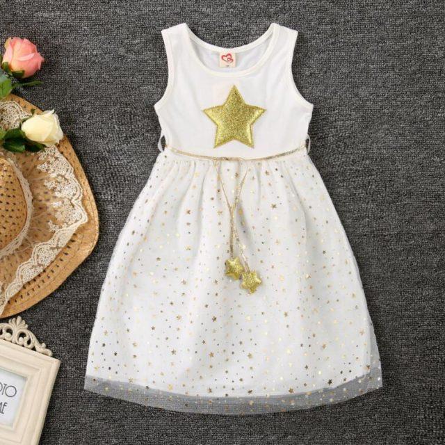 Sleeveless Star Printed Tutu Dress