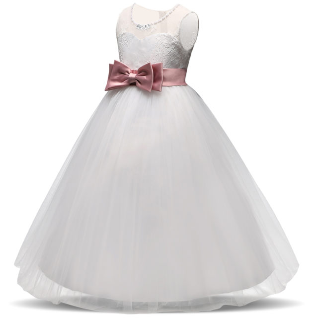 Girl's Long Tulle Dress With Ball Gown Bow