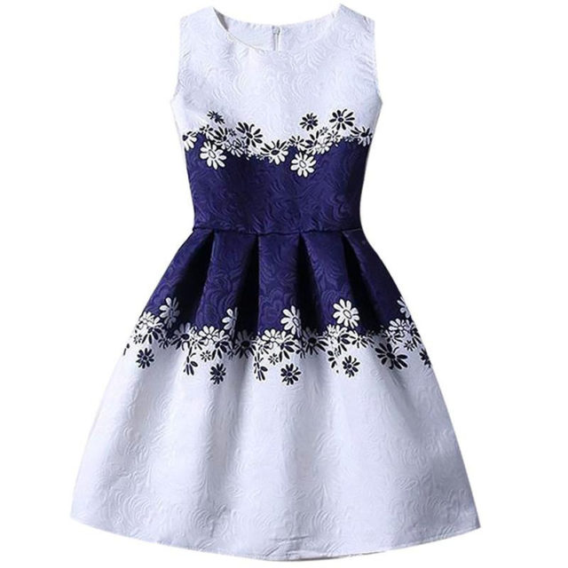 Vintage Casual Sleeveless Butterfly Patterned Girl's Dress